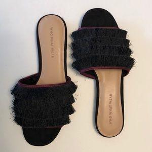 NEW Who-What-Wear Brea Fringe Slide Sandal